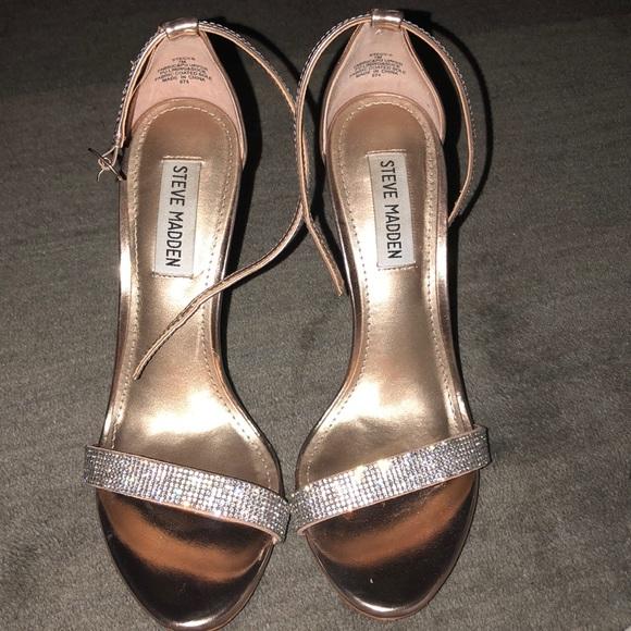 05b16518fd1 Steve Madden Stecy-S Rhinestone gold heels. M 5ad1897246aa7ccbf4c928b4